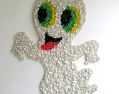 Vintage Melted Plastic Popcorn Halloween Ghost, 1970s Kage Company, Kitsch Halloween Wall Decor