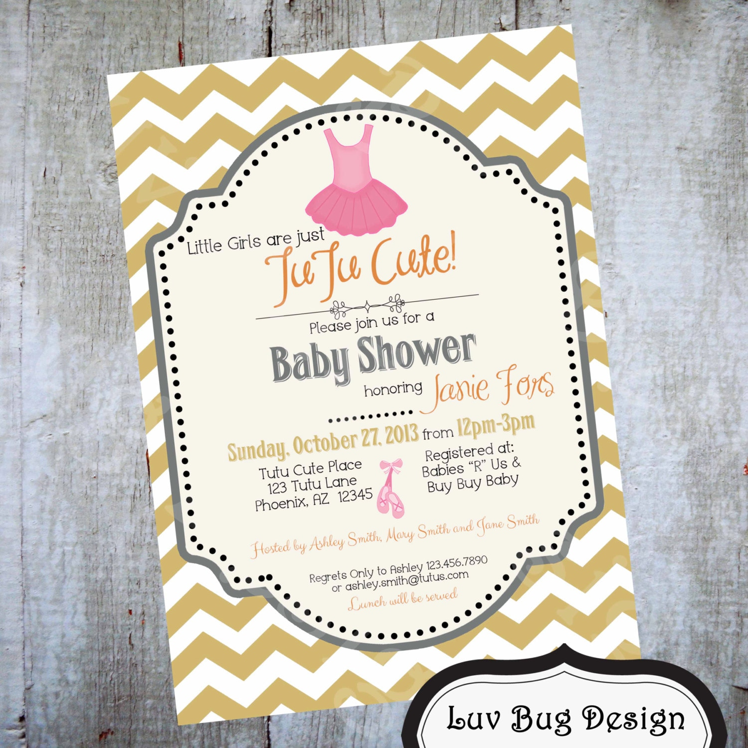 tutu baby shower invitation printable party invite by luvbugdesign