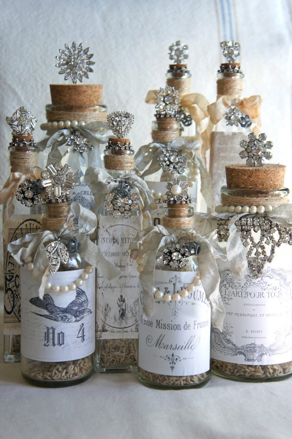 decorative bottle with french label vintage by mysweetmaison. Black Bedroom Furniture Sets. Home Design Ideas