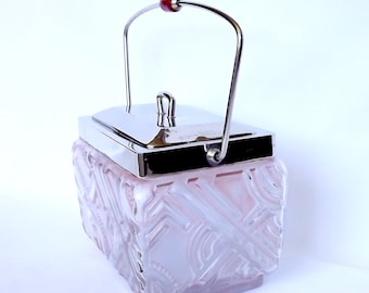 French pink glass and chrome biscuit box, 1950s