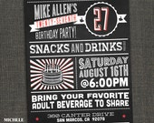 Fun Birthday Party Invitation - Chalkboard - Adult Male or Female - PRINTABLE