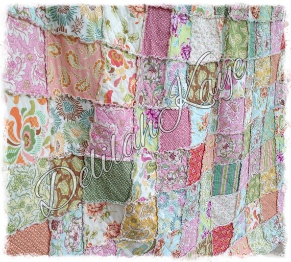 Rag Quilt - King Size - Fresh Cut Made to Order Modern Heather Bailey Handmade Bedding