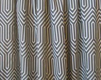 "Two 96""L x 50""W Curtain Panels -Trail Macon Steel - Modern Zig Zag"