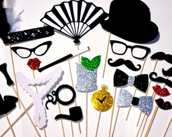 Roaring Twenties DELUXE Photo Booth Prop Set - 22 piece set - Birthdays, Weddings, Parties - GLITTER Photobooth Props