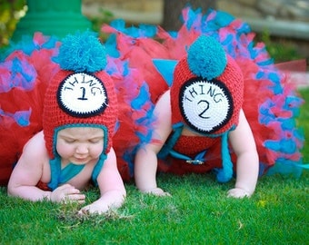 COMPLETE SET Thing 1 and  Thing 2 Crochet Hat with Earflaps tassles and poufy ball topper Baby Boys and Girls Twins
