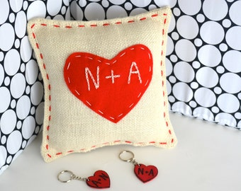 Valentine's Burlap Heart Pillow and 2 Heart Key Chaina hand engraved with initials