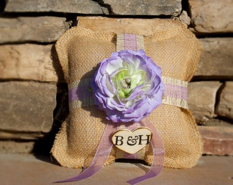 Personalized Burlap Ring Bearer Pillow with Vintage touch over 45 different flowers to select from