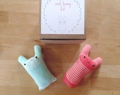 Cute sock bunny DIY craft kit in a box - poussepoussecitron