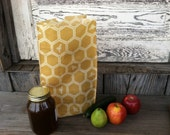 Waxed Organic Cotton Canvas Lunch Bag - NonPaper Lunch Sack - Honeycomb Yellow - Ready to Ship