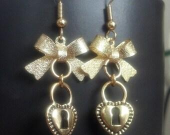 Golden Key Lock Heart and Bow earrings