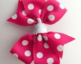 """Hot Pink Hair Bow - Polka Dot Bow - 3"""" or 4"""" Medium Pinwheel Bow - Shocking Pink with White Polka Dots"""