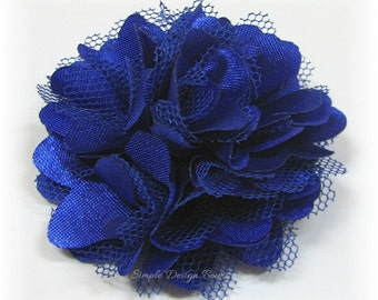 "Royal Hair Flower - Royal Blue Flower - Hair Clip or Brooch - 2"" MINI OLIVIA FLOWER - Satin Flower Clip - Royal Flower Clip"
