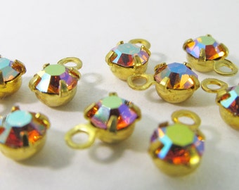30 Vintage Swarovski Topaz AB 17ss 4mm Crystal Drops Charms Cr45