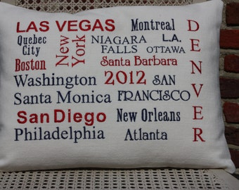 Custom embroidered pillow cover of memories