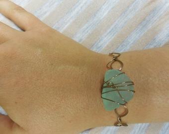 Copper Wrapped Sea Glass Bracelet
