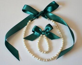 Emerald green flower girl jewelry set adjustable necklace and stretchy bracelet with swarovski crystal balls wedding jewelry  flower girl