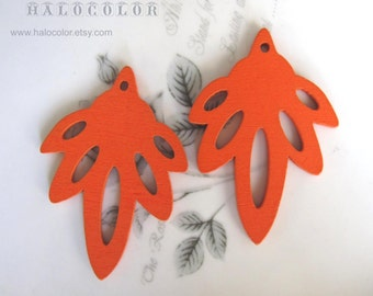 6 PCS - 35x50mm Pretty Orange Maple Leaf Shape Wooden Charm/Pendant MH202 12