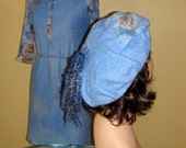 "Nuno felted "" Roses in the sky""  Felted Cap Hat Beret   set blue OOAK"