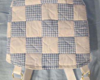 Blue Gingham and White Snuggle Carrier