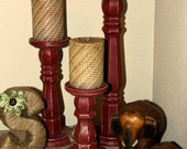 Mildly Distressed Wood Pillar Candle holders - Set of three