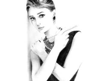 Audrey Hepburn Breakfast at Tiffany's Charcoal Pencil Drawing
