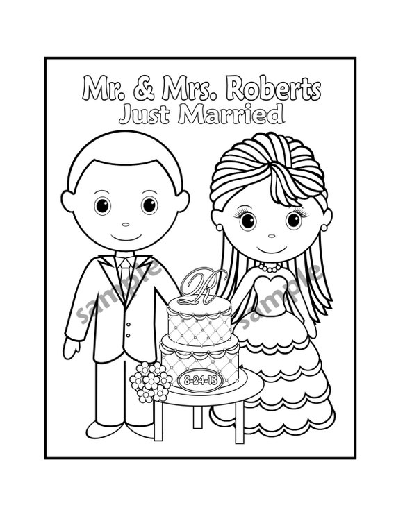 Printable Personalized Wedding Coloring Activity By
