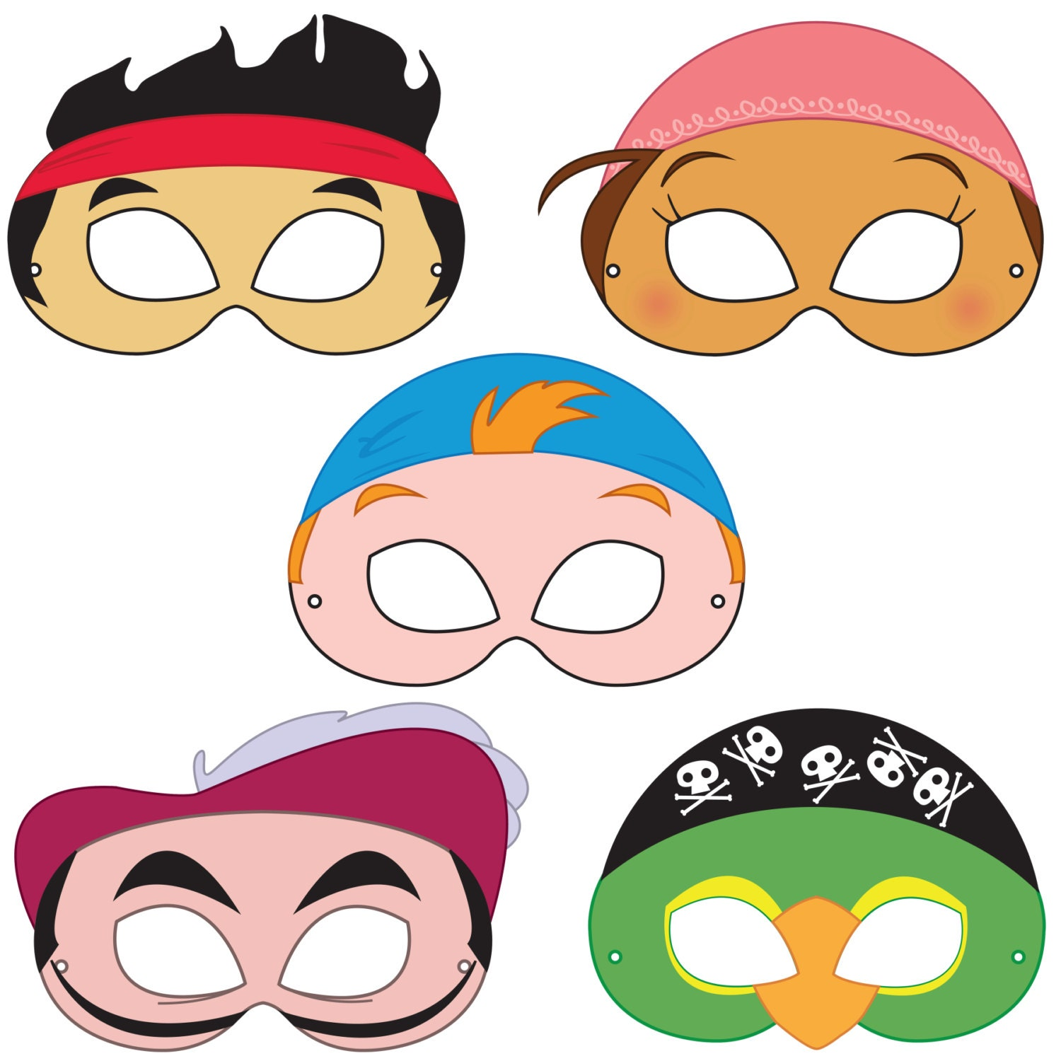 neverland pirates printable masks printable pirate mask