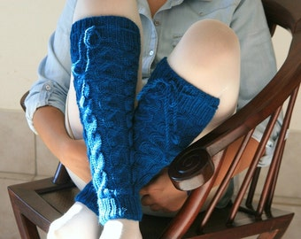Wool Leg Warmers Cable Knit in Teal Blue - Fall Winter Fashion - Women Teens Accessories