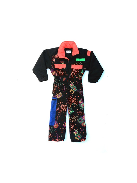 50% OFF / WAS 160 Insanely Rad 80s Obermeyer Neon Abstract One Piece Snow Suit - XXS