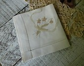 Vintage Handcrafted / Embroidered Handkerchief / Something Old Something New