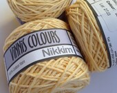 Cotton yarn, hand dyed yarn, pastel yellow, light yellow, double knit DK *SALE 25% OFF*