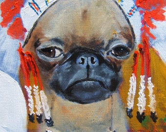 "Brussels Griffon Art Print of an original oil painting -""Chief Griff""/ 8 x 10 / Dog Art"