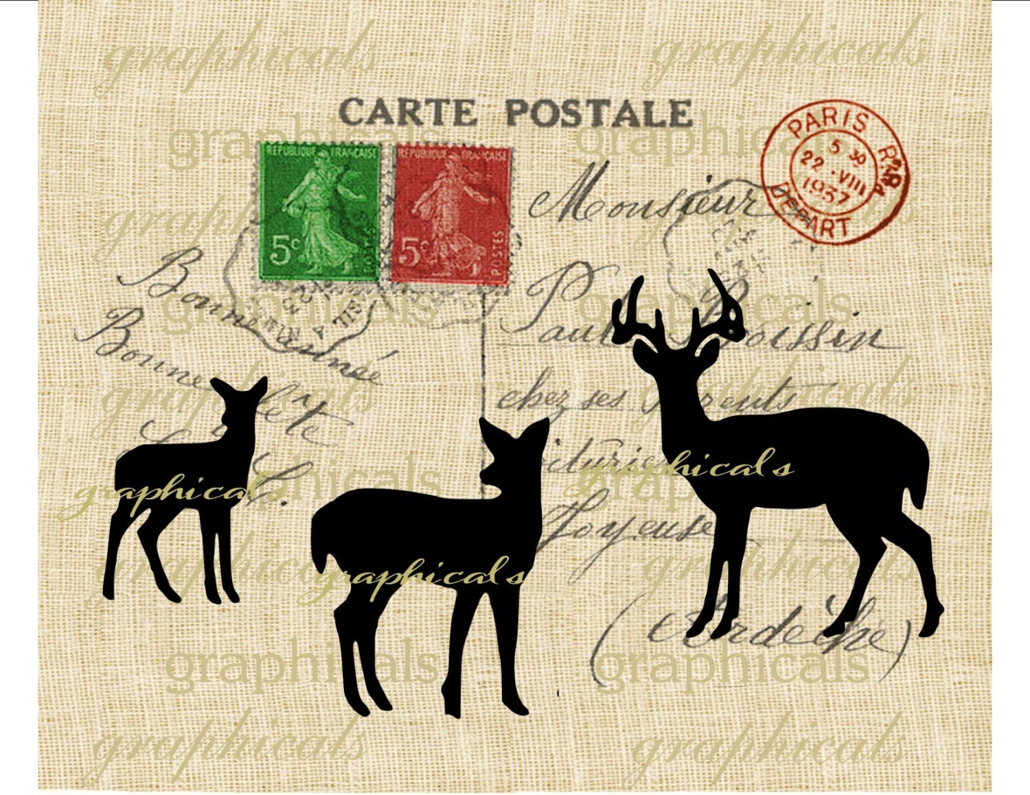 paris christmas carte postale deer red green digital download image for iron on fabric transfer. Black Bedroom Furniture Sets. Home Design Ideas