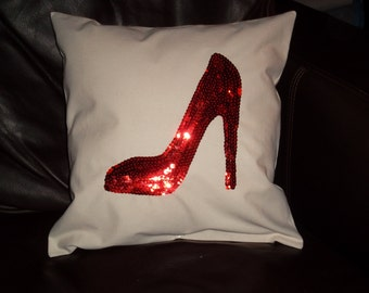 Sequin Stiletto Shoe Pillow 14X14 pillow form included