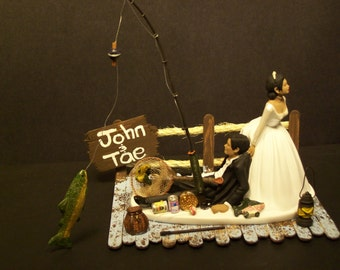 fishing wedding cake toppers humorous got the pole no fishing wedding cake topper w boat 4087