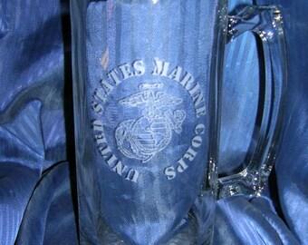 Etched us marine beer mug, engraved us marine beer mug, etched us marine glass mug, engraved us marine glass  mug, custom etch beer mug