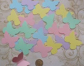 50 Butterfly Pieces from Assorted Pastel colors Cardstock for Weddings Crafts Baby Girl Mobiles Cupcake Picks Toppers Scrapbooking