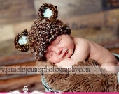 READY Baby Boy Hat - Newborn Baby Bear Hat Soft Textured Teddy Bear - Brown with Highlights and Blue Ears