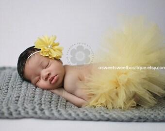 Baby Girl Tutu Set Sweet Daffodil Tutu Newborn Tutu Custom Made With Matching Vintage Style Flower Headband Stunning Newborn Photo Prop