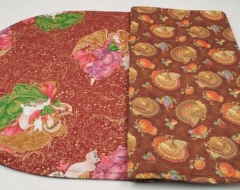 Table Runner-Thanksgiving  Christmas Table Runner Quilted Table Runner Double sided Table Cloth Handmade Table Runner Reversible Table Cloth