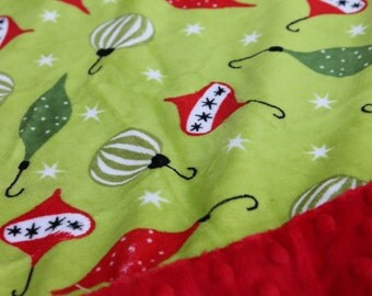 Travel Pillowcase - Christmas Print Minky with Red Minky Border - great for a Toddler or Travel Pillow