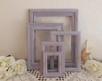 Lavender Purple Frame Set Rustic Beach Cottage Shabby Chic Picture Frame Gallery Collection French Country Farmhouse Home Decor