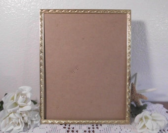 Vintage Gold Picture Frame 8 x 10 Photo Decoration Mid Century Hollywood Regency Rustic Shabby Chic Cottage Home Decor Wedding Gift Him Her