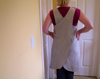 "Linen Cross Back Apron, Women's Full Cover Up, '""It's a Wrap"" Natural Linen Apron, Japanese style Apron"