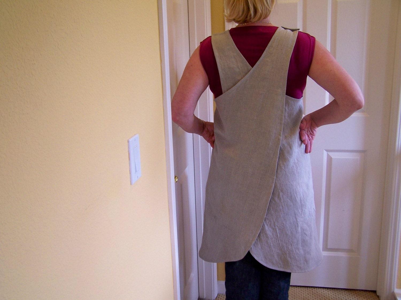 White apron pinafore - Linen Cross Back Apron Women S Full Cover Up It S A Wrap Natural Linen Apron Japanese Style Apron
