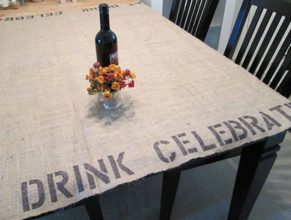 stenciled burlap tablecloth - medium