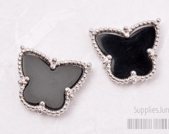 P400-R-BL// Rodium Plated Framed Black Butterfly Pendant, 1pc