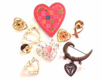 lot hearts brooches lot pins 9 pcs destash  for crafts and assemblage lot 1005