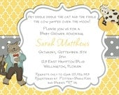 Yellow Nursery Rhyme Baby Shower Invitation Yellow and Gray Trefoil