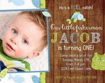 Rustic Wood Fishing Boy Birthday Invitation - Fish and Tackle - Custom and Printable Invite